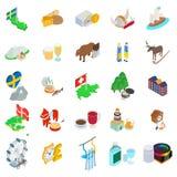Baltisk landssymbolsuppsättning, isometrisk stil stock illustrationer
