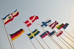Baltiska flaggor Fotografering för Bildbyråer