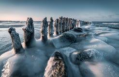 Baltiskt hav i vinter Arkivfoto