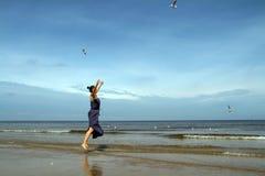 Baltiskt hav, kvinna i sommarklänningbanhoppning och matande vitG Arkivbild