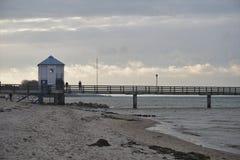 Baltiskt hav Lubmin med träklockatornet Royaltyfri Bild