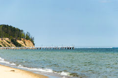 Baltiskt hav och klippa i Gdynia Royaltyfri Fotografi