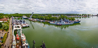 Baltiysk, Kaliningrad region, Russia - August 08, 2014: Aerial panorama view to Russian warships Royalty Free Stock Photo