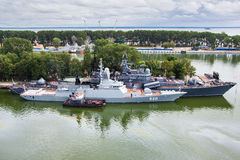 Baltiysk, Kaliningrad region, Russia - August 08, 2014: Aerial view to Russian military ship `Stereguschy` Stock Image