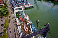 Baltiysk, Kaliningrad region, Russia - August 08, 2014: Aerial view to Russian military ships Stock Photography
