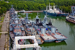 Baltiysk, Kaliningrad region, Russia - August 08, 2014: Aerial view to Russian warships Stock Photo