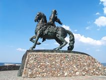 BALTIYSK, RUSSIA. A monument to the empress Elizabeth Petrovna against the background of the sky Stock Images