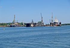 BALTIYSK, RUSSIA. Buoyant ship docks of JSC 33 ship-repair plant Stock Image