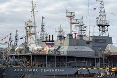 BALTIYSK, RUSSIA  - NOVEMBER 04, 2018: Physical Fields Control Vessel `Akademik Semenikhin` for control over the physical fields stock image
