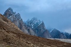 Baltoro Glacier and Trango mountain range Royalty Free Stock Image