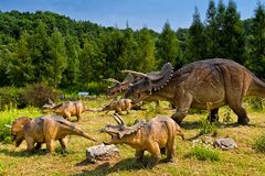 Baltow, Poland - August 02, 2017: Realistic models of natural-sized dinosaurs in Jurassic Park in Baltow. Picture taken on a sunny day stock photo