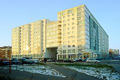 Baltrusaicio街道在下午时间的维尔纽斯2014年11月24日 免版税库存照片