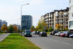 Baltrusaicio gata i Vilnius på eftermiddagtid Fotografering för Bildbyråer