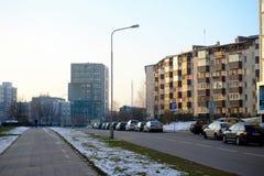 Baltrusaiciostraat in Vilnius in middagtijd op 24 November, 2014 Royalty-vrije Stock Fotografie