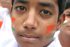 Balu,11,Domalguda Indian boy with face painted with national flag colors Stock Photography