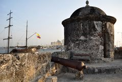 Baluarte de San Francisco bastion Baroque sentry box lookout Cartagena de Indias Colombia South America. Architecture coconut tree destination famous fort royalty free stock photo