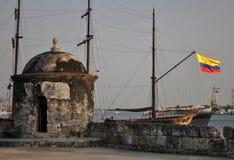 Baluarte de San Francisco bastion Baroque sentry box lookout Cartagena de Indias Colombia South America. Architecture coconut tree destination famous fort stock photos