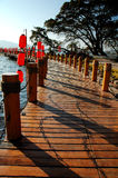 Baluster. Wood baluster by a lake in Sichuan,west of China royalty free stock photos