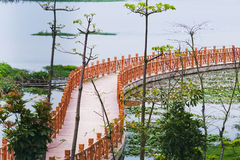 Baluster. Wood baluster by a lake in nanning of China royalty free stock photos