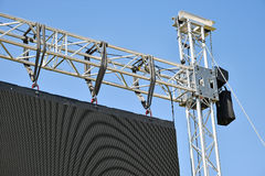 Baluster of a large LED screen. Outdoors against sky stock images