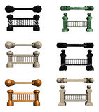 Balusters with columns. Stone and wood columns with balusters of different colors, which are components of various barriers Stock Image