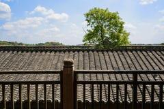 Balustrada i dach w Chińskim tradycyjnym stylu Zdjęcia Stock