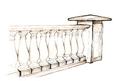 Balustrade. Drawing row of stone balusters Royalty Free Stock Photo