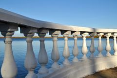 Balustrade in the city park on the lake Stock Photography