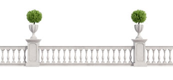 Balustrade classique d'isolement sur le blanc Photos stock
