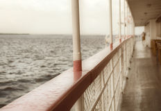 Balustrade of a cruise ship .Old  Steamship Stock Photo