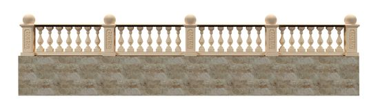 Balustrade 3D rendering on a white background isolated with clip stock illustration