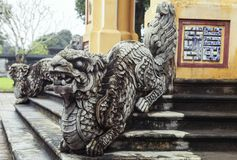 balustrade en forme de dragon en Hue Imperial Palace photographie stock libre de droits