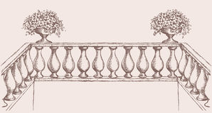 Balustrade with flowers in vase. Vector drawing Royalty Free Stock Photos