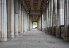 Balustrade line of  marble columns with center endpoint Stock Photography