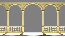 Balustrade met kolommen, bogen en gipspleister het 3D teruggeven stock afbeelding