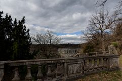 Balustrade ruins Abbey Villers la Ville, Belgium. Panoramic overview of the valley with the remains or ruins of the abbey and monastery of the ruined cistercian royalty free stock photography