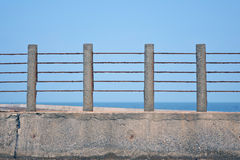 Balustrade with sea. Background of balustrade with sea Stock Photo