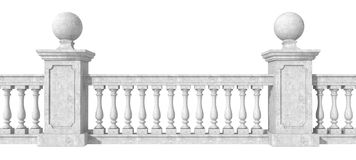 Balustrade on white Stock Photos