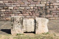 Balustrades décorées et inscrites de Sanchi Stupa photographie stock libre de droits