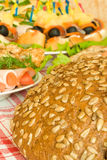 Balyk, chops and bread on table Royalty Free Stock Photography