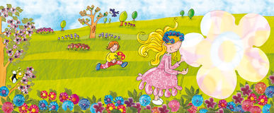 Balzi nella ragazza del parco con il grande fiore Fotografia Stock Libera da Diritti