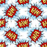 BAM word Multicolored comics speech bubbles seamless pattern Stock Images