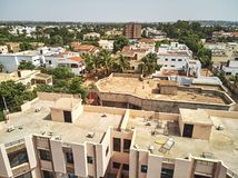 Aerial Drone view of niarela Bamako Mali. Bamako is the capital and largest city of Mali, with a population of 1.8 million. In 2006, it was estimated to be the Stock Photography