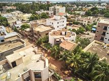 Aerial Drone view of niarela Bamako Mali. Bamako is the capital and largest city of Mali, with a population of 1.8 million. In 2006, it was estimated to be the Royalty Free Stock Photography