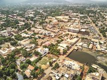 Aerial Drone view of niarela Bamako Mali. Bamako is the capital and largest city of Mali, with a population of 1.8 million. In 2006, it was estimated to be the Royalty Free Stock Image