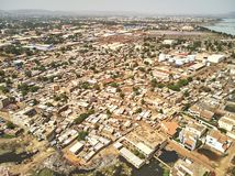 Aerial Drone view of niarela Bamako Mali. Bamako is the capital and largest city of Mali, with a population of 1.8 million. In 2006, it was estimated to be the royalty free stock photo