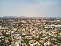 Aerial Drone view of niarela Quizambougou Niger Bamako Mali. Bamako is the capital and largest city of Mali, with a population of 1.8 million. In 2006, it was royalty free stock photography