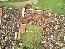 Aerial Drone view of niarela Quizambougou Niger Bamako Mali. Bamako is the capital and largest city of Mali, with a population of 1.8 million. In 2006, it was Stock Images