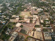 Aerial Drone view of niarela Quizambougou Niger Bamako Mali. Bamako is the capital and largest city of Mali, with a population of 1.8 million. In 2006, it was Stock Photo
