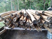 Bambù che è trattato per la costruzione di edifici Fotografia Stock Libera da Diritti